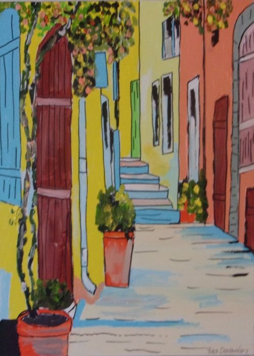 Ruelle de St Tropez - Painting,  25.6x21.7x1 in ©2019 by Yves Decaudan -                        Cities