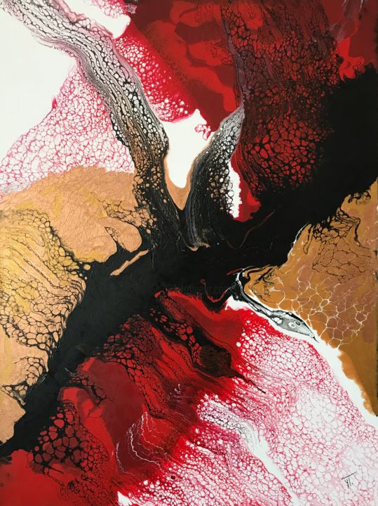 """Painting titled """"L'Aigle Noir"""" by Yves Thomas, Original Art, Acrylic Mounted on Stretcher frame"""