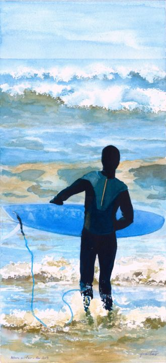 Allons surfer - Painting,  50x23 cm ©2019 by Yves Varlet -                                        Figurative Art, Sports