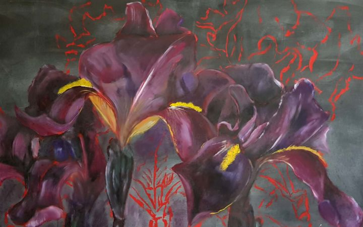 Iris Rouge - 155x250 cm - Painting ©2019 by Johannes Zacherl Painter -                                                                                                                                Documentary, Environmental Art, Expressionism, Fauvism, Culture, Flower, Landscape, Outer Space, Seasons, Iris, Rouge, Fleur, Flower, Painting, Landscape