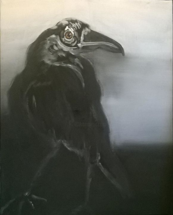 Corbeau Noir et Blanc - 150x110cm - Painting ©2019 by Johannes Zacherl Painter -                                                                                                        Contemporary painting, Documentary, Expressionism, Animals, Birds, Black and White, Fantasy, Corbeau, Noir, Oiseau, Animal, Bird, Black, Raven