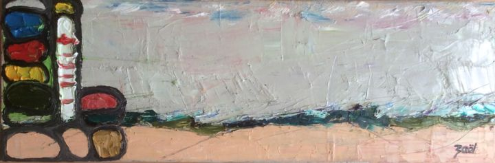 LE PHARE - Painting,  30x90x3 cm ©2017 by Zaël -                                                        Abstract Art, Canvas, Seascape