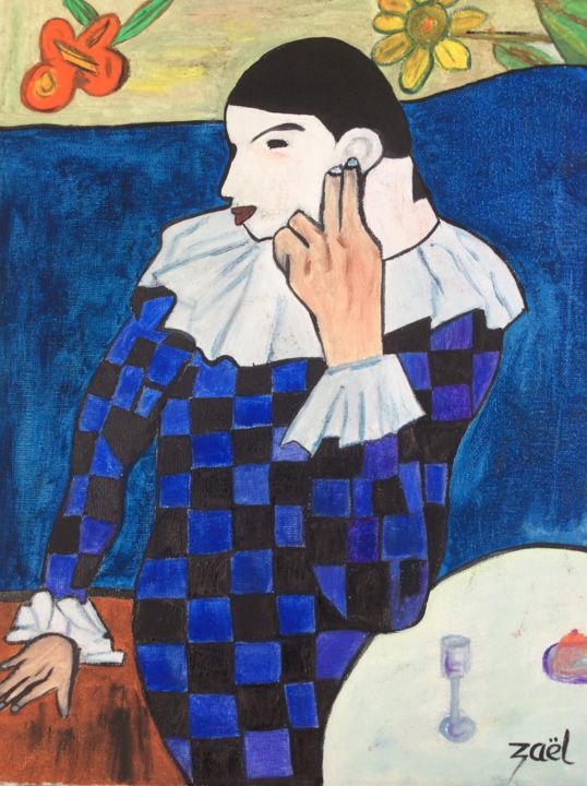 ARLEQUIN - Painting,  15.8x11.8x0.8 in, ©2019 by Zaël -                                                                                                                                                                          Figurative, figurative-594, People