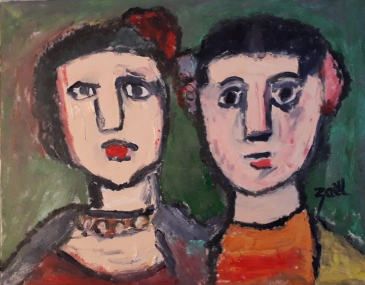 LES DEUX ESPAGNOLES - Painting,  15.8x19.7x1.2 in, ©2019 by Zaël -                                                                                                                                                                          Expressionism, expressionism-591, Women