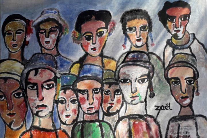 THEATRE - Painting,  15.8x23.6x0.8 in, ©2019 by Zaël -                                                                                                                                                                          Expressionism, expressionism-591, People