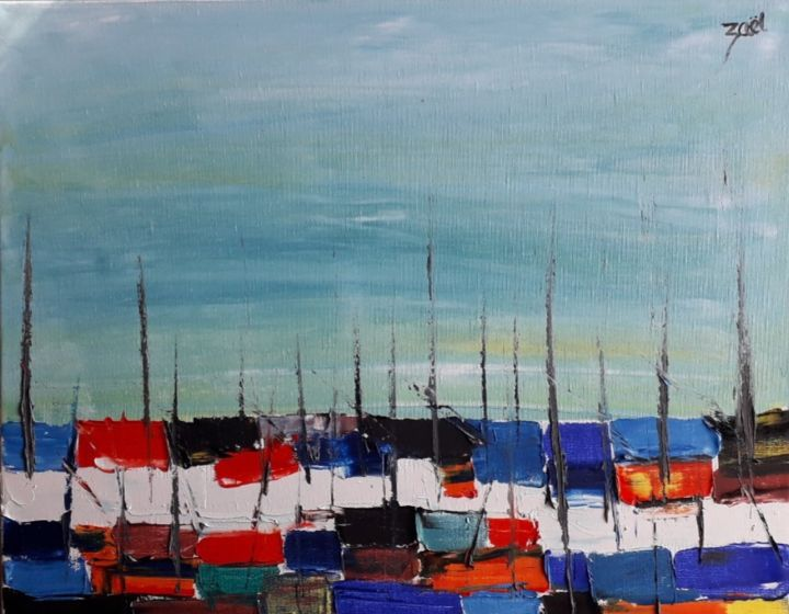 SANARY SUR MER, le port - Painting,  15.8x19.7x0.8 in, ©2020 by Zaël -                                                                                                                                                                          Abstract, abstract-570, Sailboat