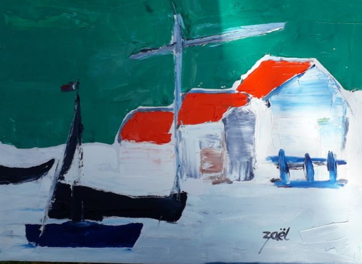 SAINT PIERRE ET MIQUELON - Painting,  15.8x19.7x0.8 in, ©2020 by Zaël -                                                                                                                                                                          Abstract, abstract-570, Sailboat