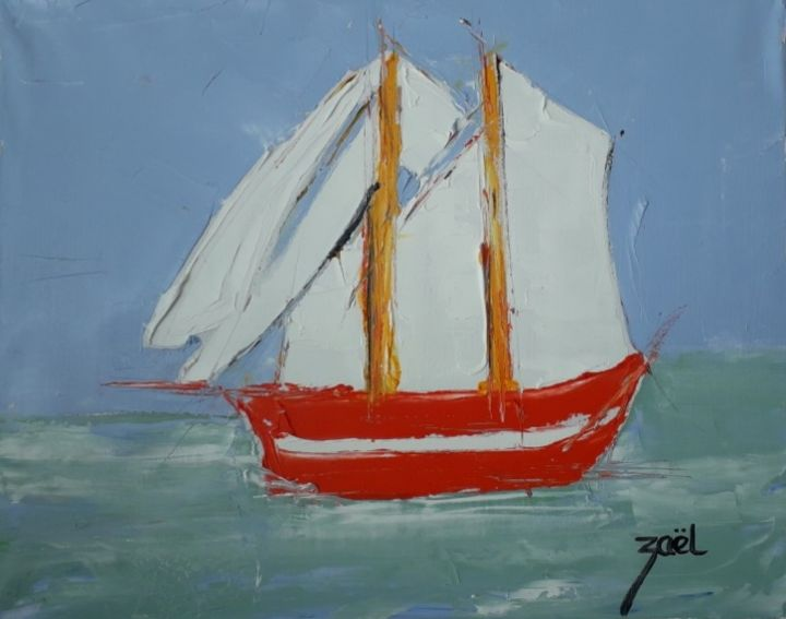 BATEAU ROUGE - Painting,  15.8x19.7x0.8 in, ©2020 by Zaël -                                                                                                                                                                          Expressionism, expressionism-591, Boat