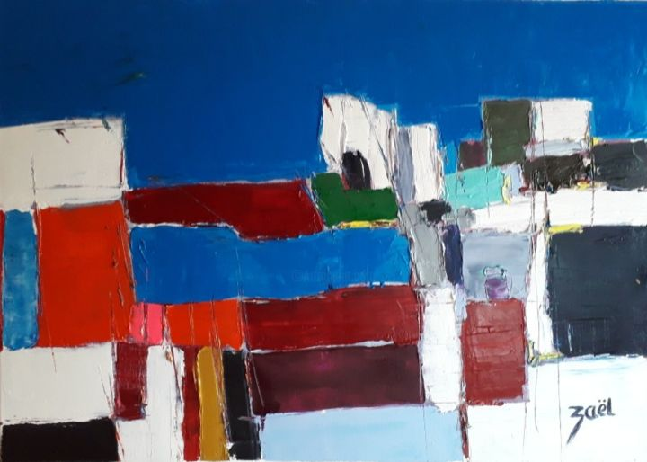 MEDITERRANEE - Painting,  19.7x27.6x1.2 in, ©2020 by Zaël -                                                                                                                                                                          Abstract, abstract-570, Landscape