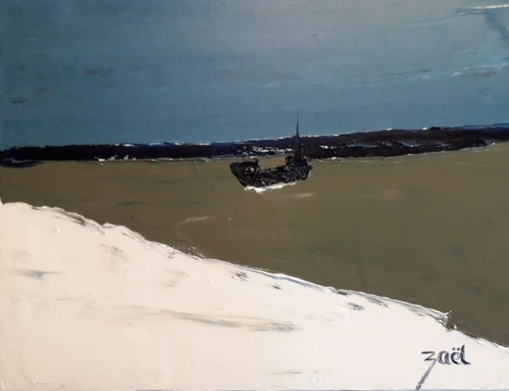 BOAT ON THE SEA - Painting,  11.8x15.8x0.8 in, ©2020 by Zaël -                                                                                                                                                                          Abstract, abstract-570, Boat