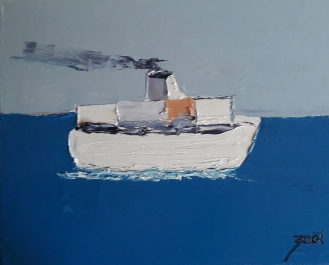 Porte containers - Painting,  15.8x19.7x1.2 in, ©2020 by Zaël -                                                                                                                                                                          Abstract, abstract-570, Boat