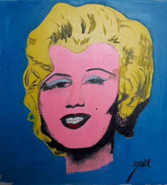 MARILYN - Painting,  15.8x15.8x1.2 in, ©2020 by Zaël -                                                                                                                                                                                                                                                                      Pop Art, pop-art-615, People, Marilyn, Warhol