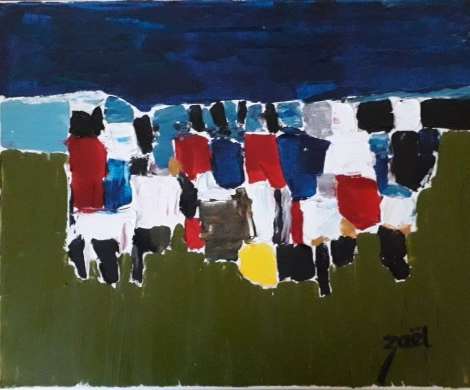 FOOT A FURIANI - Painting,  15.8x19.7x1.2 in, ©2020 by Zaël -                                                                                                                                                                          Abstract, abstract-570, Sports