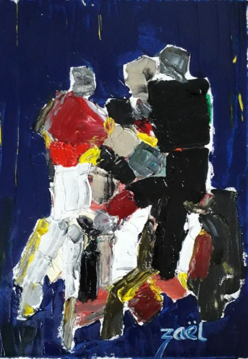 RUGBY, le match - Painting,  15.8x11.8x1.2 in, ©2020 by Zaël -                                                                                                                                                                          Abstract, abstract-570, Sports