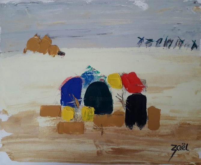 LES GLANEUSES - Peinture,  15,8x19,7x1,2 in, ©2020 par Zaël -                                                                                                                                                                          Abstract, abstract-570, Personnes