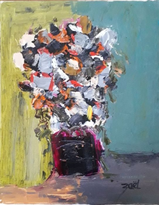BOUQUET nature morte - Peinture,  16,1x13x0,8 in, ©2020 par Zaël -                                                                                                                                                                          Abstract, abstract-570, Fleur