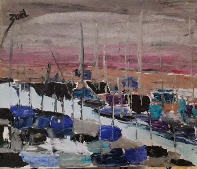 BELLE ILE EN MER, port du palais - Peinture,  15,8x19,7x1,2 in, ©2021 par Zaël -                                                                                                                          Abstract, abstract-570