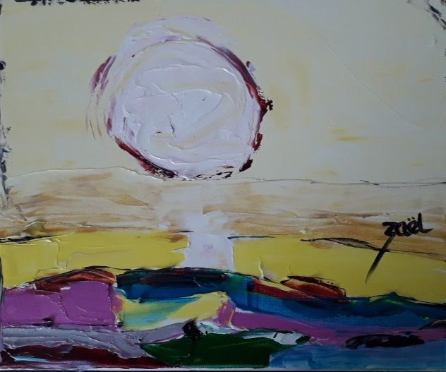 HERE COME THE SUN - Peinture,  13x16,1x1,2 in, ©2021 par Zaël -                                                                                                                          Abstract, abstract-570