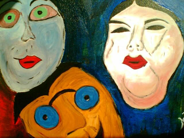 LES 3 MASQUES - Painting,  27.6x35.4 in, ©2007 by Zaël -