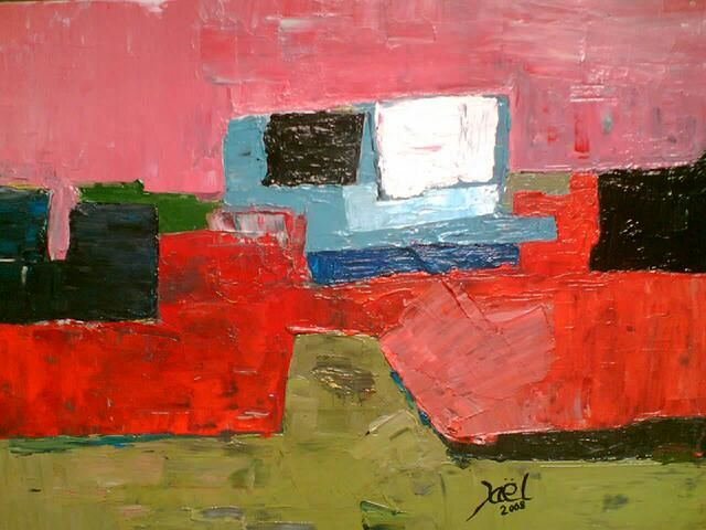 Composition Normande LISIEUX - Painting,  23.6x31.9 in, ©2008 by Zaël -