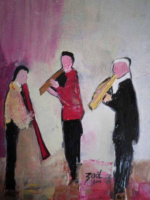 JAZZ - Painting,  19.7x15.8 in, ©2012 by Zaël -