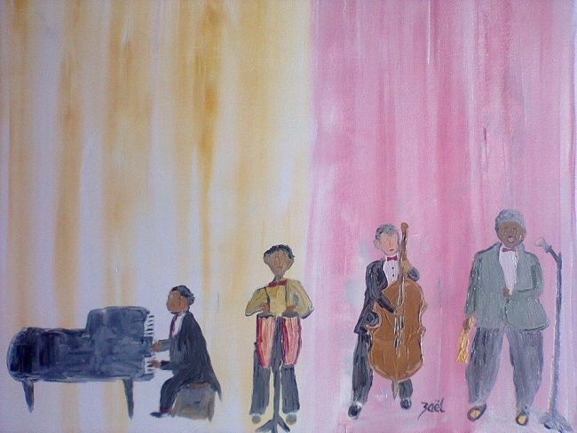 LE CONCERT - Painting,  18.1x21.7 in, ©2012 by Zaël -