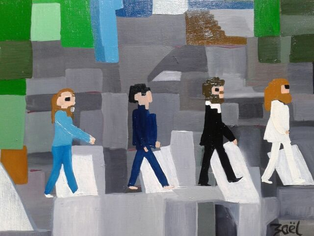abbey road - Painting,  15x18.1 in, ©2014 by Zaël -                                                                                                                                                                          Figurative, figurative-594, People