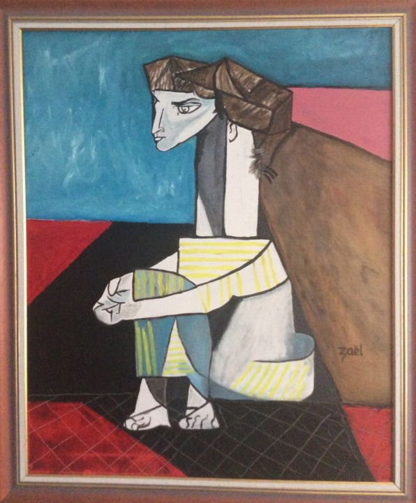 Femme assise - Painting,  27.6x23.6 in, ©2014 by Zaël -                                                              Picasso