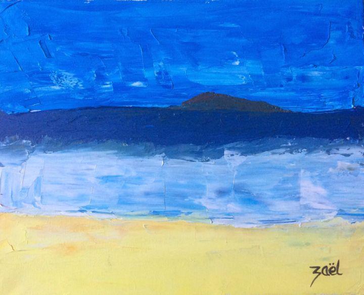 ON ISLAND - Painting,  50x40 cm ©2015 by Zaël -                                        Abstract Art, Seascape