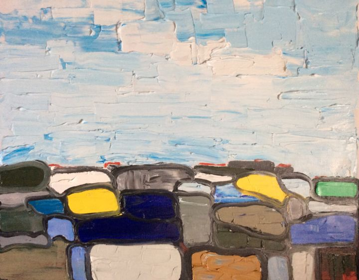 CORSU - Painting,  19.7x24x0.8 in, ©2016 by Zaël -                                                                                                                                                                          Abstract, abstract-570, Landscape