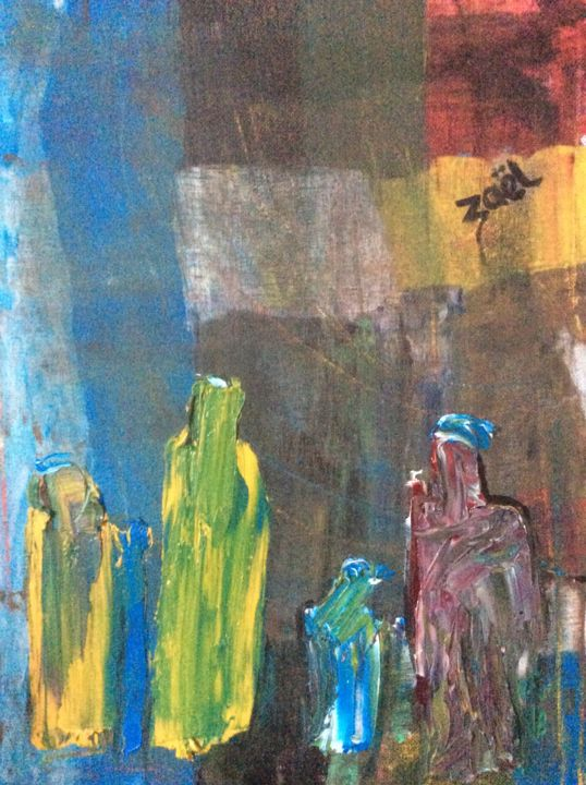LA NATIVITE - Painting,  40x30x2 cm ©2016 by Zaël -                                        Figurative Art, Performing Arts