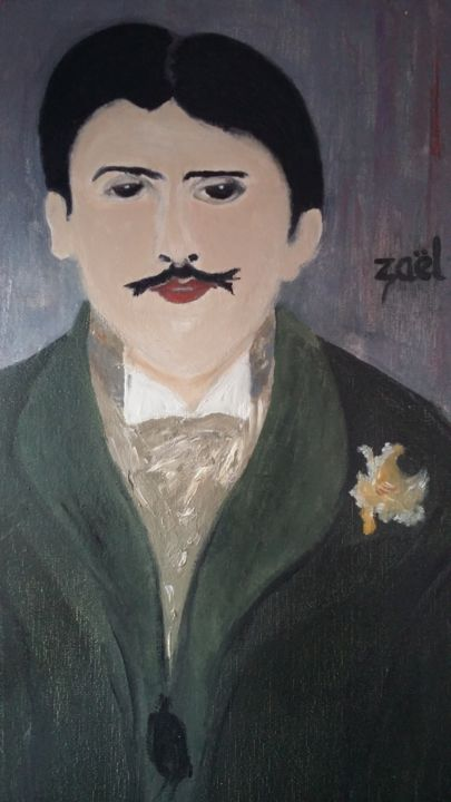 MARCEL PROUST étude à l'huile - Painting,  11.8x15.8x0.8 in, ©2017 by Zaël -                                                                                                                                                                          Figurative, figurative-594, People