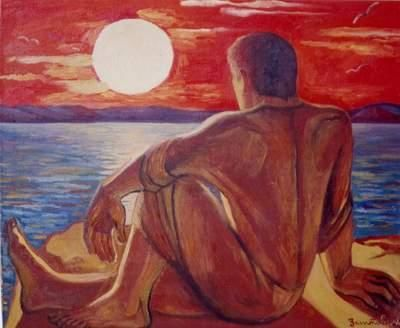 Sunset - Painting,  33.5x39.4 in, ©2002 by Vladimir Zagitov -