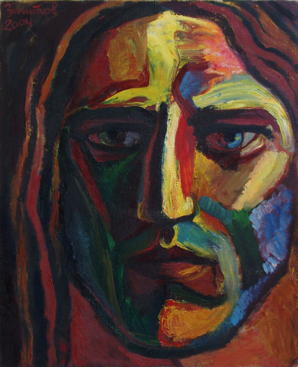 Jesus - I - Painting,  39.4x31.5x1.6 in, ©2004 by Vladimir Zagitov -                                                                                                                                                                                                                                                                                                                                                                                                                                                                                                                                                                                                                                                                                                                                                                                                                                                                  Abstract, abstract-570, Spirituality, People, World Culture, Portraits, Religion, Contemporary painting, Jesus Christ, Jesus, Isa, Messiah, Prophet, Prophetical, Portrait, Face, Christ, Expression