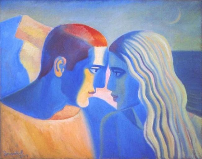 Land & Sea - Painting,  31.5x39.4 in, ©2004 by Vladimir Zagitov -                                                                                                                                                                                                  love, couple, man and woman, two elements