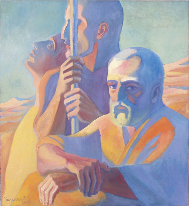 Shepherds (Time) - Painting,  100x90x2 cm ©2005 by Vladimir Zagitov -                                                                                                                                                                        Contemporary painting, Figurative Art, Portraiture, Realism, Symbolism, Fauvism, Expressionism, Canvas, Time, Spirituality, People, Portraits, Contemporary painting, time, times, man, trio, spiritual