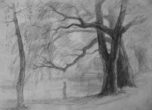 Old Willows - Drawing,  11x15.4 in, ©1998 by Vladimir Zagitov -