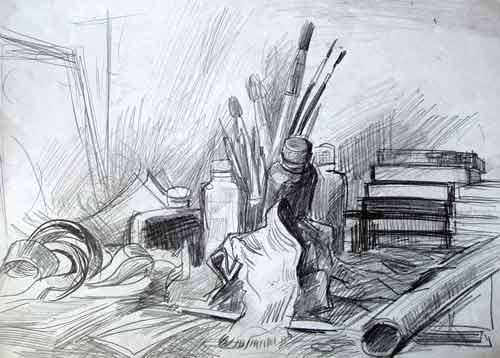 Still-life - Drawing,  11.8x15.8 in, ©1999 by Vladimir Zagitov -