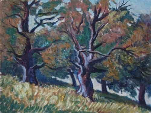 Oaks - Painting,  15.8x20.9 in, ©2000 by Vladimir Zagitov -