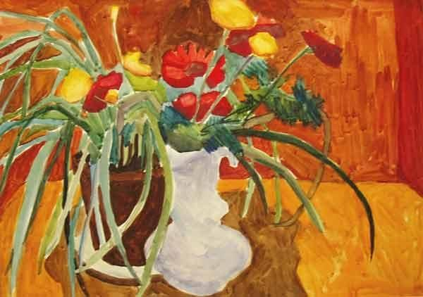 Flowers - Painting,  16.9x24 in, ©1999 by Vladimir Zagitov -