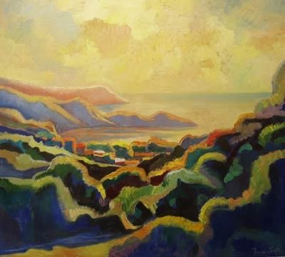 Crimea. Coctebel-II - Painting,  35.4x39.4 in, ©2005 by Vladimir Zagitov -                                                              land-scape