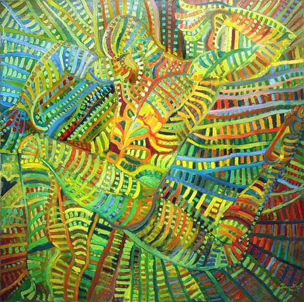 Green Dance - Painting,  150x150 cm ©2007 by Vladimir Zagitov -                        Contemporary painting