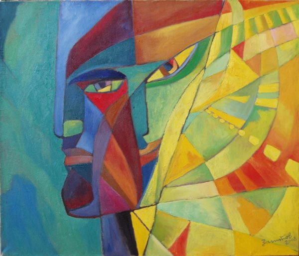 Borders - Painting,  39.4x45.7x1.2 in, ©2008 by Vladimir Zagitov -                                                                                                                                                                                                                                                                                                                                                                                                                                                                                                                                                                                                                                                                                  Abstract, abstract-570, Spirituality, Love / Romance, People, Portraits, Light, Contemporary painting, faces, face, dual, dualistic, love, vladimir zagitov