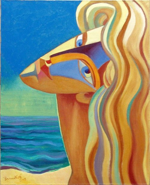 She and Sea - Painting,  100x80 cm ©2008 by Vladimir Zagitov -