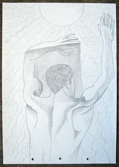 Man and Sun - Drawing,  0.4 in, ©2008 by Vladimir Zagitov -
