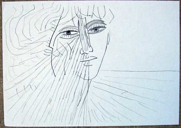 girl and sea - Drawing,  11.8x15.8 in, ©2008 by Vladimir Zagitov -