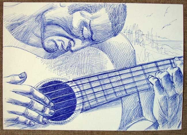 guitarist - Drawing,  11.8x15.8 in, ©2008 by Vladimir Zagitov -