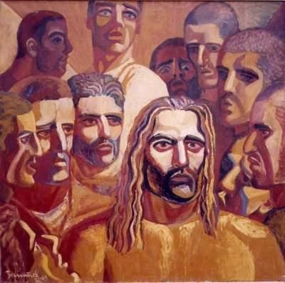 Holy Communion - Painting,  39.4x39.4 in, ©2002 by Vladimir Zagitov -                                                              holy communion