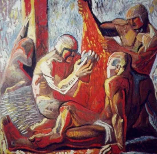The tossing a coin - Painting,  35.4x39.4 in, ©2000 by Vladimir Zagitov -                                                              bible figurative
