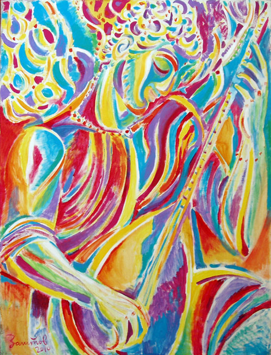 New Melody - Painting,  47.2x35.4x0.8 in, ©2010 by Vladimir Zagitov -                                                                                                                                                                                                                                                                                                                                                                                                                                                                                                                                                                                                                                                                                  Abstract, abstract-570, Asia, Music, World Culture, Angels, musician, musicien, music, oriental music, musique orientale, la musique du Moyen-Orient, saz, musique indienne